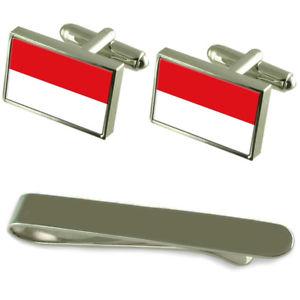 【送料無料】メンズアクセサリ― ウィーンフラグシルバーカフスボタンタイクリップセットvienna flag silver cufflinks tie clip engraved gift set