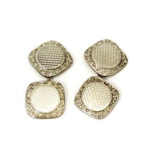 【送料無料】メンズアクセサリ― ヴィンテージゴールドスクエアカフリンクスvintage 14ct gold square engraved cufflinks