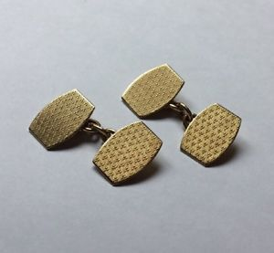 【送料無料】メンズアクセサリ― チェスターkゴールドエンジンオンカフリンクスvtg gents hallmarked hm chester 9ct 9k gold engine turned hexagonal cufflinks