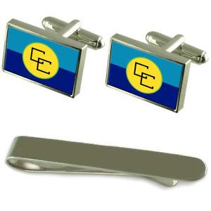 【送料無料】メンズアクセサリ― カリブシルバーカフスボタンタイクリップセットcaricom flag silver cufflinks tie clip engraved gift set