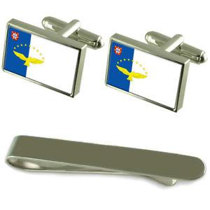 【送料無料】メンズアクセサリ― アゾレスシルバーカフスボタンタイクリップセットthe azores flag silver cufflinks tie clip engraved gift set