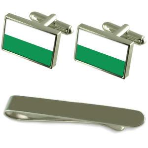 【送料無料】メンズアクセサリ― フラグシルバーカフスボタンタイクリップセットstyria flag silver cufflinks tie clip engraved gift set