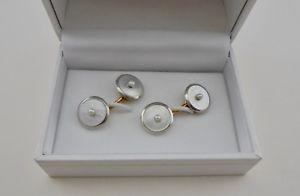 【送料無料】メンズアクセサリ― パールモップイエローホワイトゴールドカフリンクス listingantique krementz pearl mop 14k yellow white gold cufflinks ca1920s