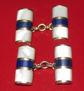 【送料無料】メンズアクセサリ― イエローパールゴールドラピスラズリチェーンリンクカフリンクスsecondhand 9ct yellow gold mother of pearl amp; lapis lazuli chain link cufflinks