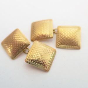 【送料無料】メンズアクセサリ― アールデコヴィンテージスクエアエンジンゴールドカフリンクスオンart deco vintage square engine turned 9ct gold cufflinks wedding groom 1930s