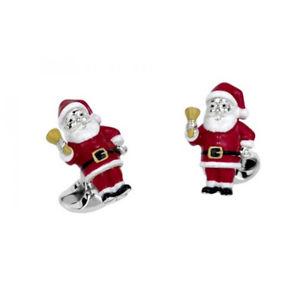 【送料無料】メンズアクセサリ― スターリングシルバークリスマスサンタカフリンクスsterling silver christmas santa cufflinks