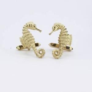 【送料無料】メンズアクセサリ― イエローゴールドカフリンクスpreowned gents 9ct yellow gold seahorse cufflinks