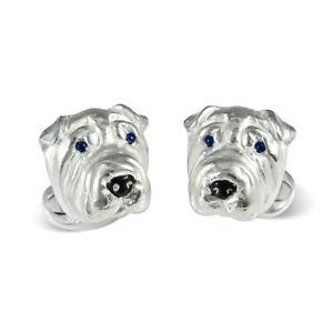 【送料無料】メンズアクセサリ― ディーキンフランシスペイカフリンクススターリングシルバーエナメルサファイアdeakin and francis shar pei dog cufflinks sterling silver amp; enamel sapphire eyes