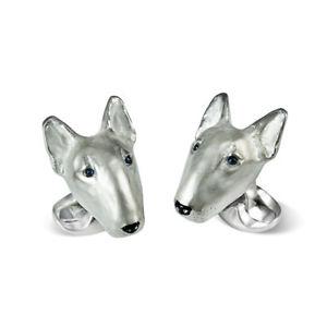 【送料無料】メンズアクセサリ― ディーキンフランシスブルテリアカフスボタンシルバーサファイアdeakin and francis english bull terrier cufflinks silver amp; sapphire eyes