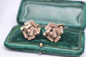 【送料無料】メンズアクセサリ― ビンテージゴールドキュビズムデザインカフリンクスrare vintage 9ct gold handmade cufflinks with a cubism design 1808g b530