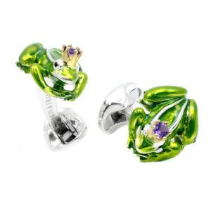【送料無料】メンズアクセサリ― ディーキンフランシススターリングシルバーエナメルフロッグプリンスカフリンクスdeakin and francis sterling silver amp; green enamel frog prince cufflinks