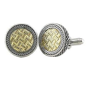 【送料無料】メンズアクセサリ― カンデラkイエローゴールドシルバーラウンドカフリンクスandrea candela 18k yellow gold amp; silver weave pattern round cufflinks acm03go