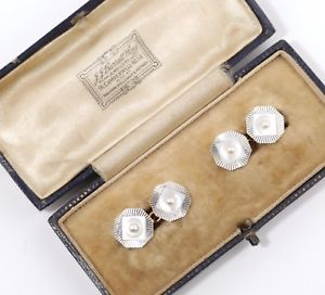 【送料無料】メンズアクセサリ― アンティークゴールドプラチナパールカフリンクスシードantique 18 ct gold amp; platinum cufflinks w mother of pearl amp; seed pearls 1930s