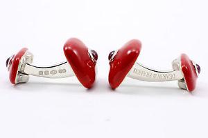 メンズアクセサリ— ディーキンフランシススターリングシルバーエナメルカフスボタンセットdeakin and francis sterling silver amp; red enamel ruby set cufflinks