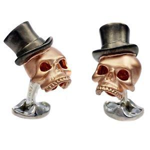 【送料無料】メンズアクセサリ― ディーキンフランシススターリングシルバースカルトップハットカフスボタンローズゴールドメッキdeakin and francis sterling silver skull top hat cufflinks rose gold plated