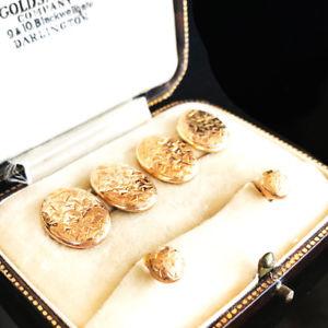 送料無料 メンズアクセサリ― ビクトリアローズゴールドアイビーデザインスタッドボックスメーカーセットvictorian 9ct rose gold ivy design js date1900 boxed maker stud cufflink 予約販売 set 新作 人気 amp;