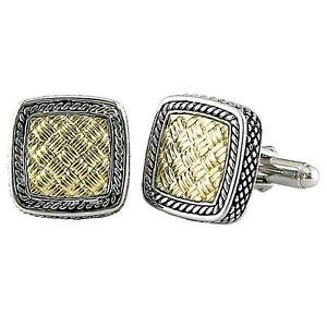 【送料無料】メンズアクセサリ― カンデラkイエローゴールドシルバースクエアカフスボタンandrea candela 18k yellow gold amp; silver weave pattern square cufflinks acm02go