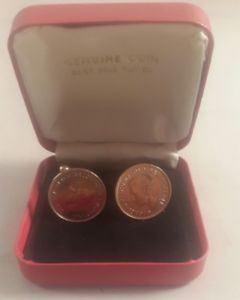 【送料無料】メンズアクセサリ― コインカフスリンク 1セントファージングカフスリンクgenuine coin cufflinks penny farthing cufflinks