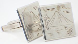 【送料無料】メンズアクセサリ― ビンテージタイシルバーカフスボタンビンテージタイカフスボタンテーマvintage thai silver cufflinks vintage thai cufflinks w mountain theme 70s