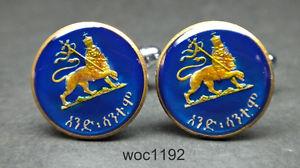 【送料無料】メンズアクセサリ― エチオピアエナメルコインカフスボタンライオン1936 ethiopia enamelled coin cufflinks crowned lion