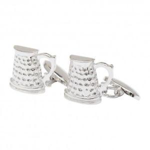 【送料無料】メンズアクセサリ― ビールカフリンクスチェーンリンクbeer tankard cufflinks silver plated chain link