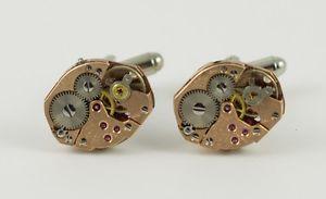 【送料無料】メンズアクセサリ― ムーブメントカフスボタンwatch movement cufflinks steampunk gears machine industrial gold