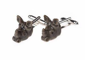 【送料無料】メンズアクセサリ― メアリーサイカフリンクスand mary, rhino porcelain cufflinks