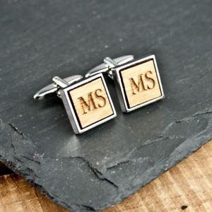 【送料無料】メンズアクセサリ― パーソナライズカフリンクスpersonalised square wooden cufflinks