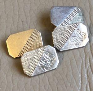 【送料無料】メンズアクセサリ― ビンテージシルバーカフスボタンアールデコチェーンリンクvintage silver cufflinks art deco chain link hallmarked 1950s 1953 jrw etched