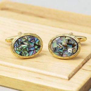 【送料無料】メンズアクセサリ― パウアシェルゴールドカフリンクスpaua shell gold cufflinks