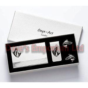 【送料無料】メンズアクセサリ― マネークリップビジネスカードセットオニキスアートボックスフィッシャーマンfish money clip business card amp; cufflink gift set onyx art boxed fisherman