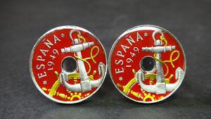 【送料無料】メンズアクセサリ― スペインエナメルコインカフスボタンアンカーspain enamelled coin cufflinks 50 centimos anchor