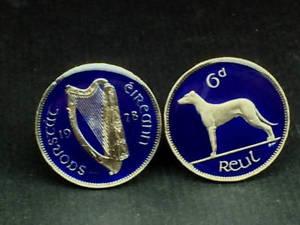 【送料無料】メンズアクセサリ― アイルランドアイルランドエナメルコインカフスボタンireland irish enamelled coin cufflinks wolfhound sixpence