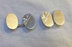 【送料無料】メンズアクセサリ― ヴィンテージカフリンクスvintage 1940s to 1950s sterling silver small cufflinks oval in good condition