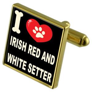【送料無料】メンズアクセサリ― カフスボタンアイリッシュレッドセッターi love my dog goldtone cufflinks irish red amp; white setter
