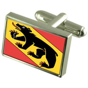 【送料無料】メンズアクセサリ― ベルンスイスカフスボタンボックスbern city switzerland flag cufflinks engraved box