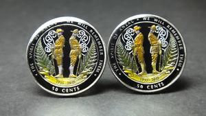 【送料無料】メンズアクセサリ― ニュージーランドコインカフスボタンセントアンザック2015 zealand coin cufflinks 50 cents the sprit of anzac