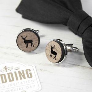 【送料無料】メンズアクセサリ― カフリンクスwooden stag cufflinks