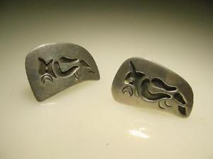 【送料無料】メンズアクセサリ― ヴィンテージハンドメイドスターリングメキシコシルバーオウムカフリンクvintage hand made sterling mid century mexican silver parrot cuff links signed