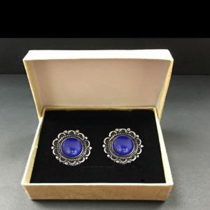 【送料無料】メンズアクセサリ― ラピスカフスボタンセットmens elegant cufflinks set with natural gem lapis sterling silver handmade