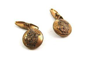 【送料無料】メンズアクセサリ― ビンテージフクロウボタンカフスボタンvintage goldtone wise old owl button cufflinks 04212014 unsigned