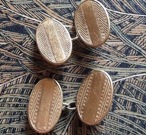 【送料無料】メンズアクセサリ― ビンテージアールデコメンズカフスボタンvintage art deco 1930s gold on silver machined oval mens cufflinks fathers day