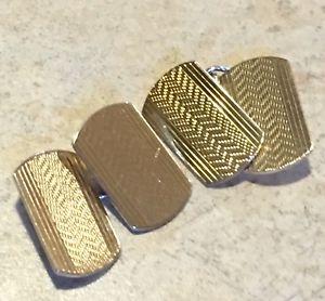 【送料無料】メンズアクセサリ― ビンテージレトロアールデコリンクメンズカフスボタンゴールド1930s mens cufflinks 9 ct gold on silver vintage retro art deco machined link