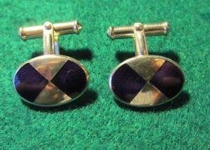 【送料無料】メンズアクセサリ― エナメルシルバーカフスボタンpurple enamel and silver cufflinks lbb co 1997