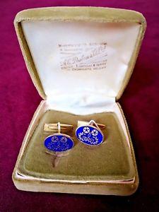 【送料無料】メンズアクセサリ― シルバーエナメルテープコットンロゴビンテージカフリンクスsilver gilt amp; blue enamel vintage cufflinks by a e poston 1971 tapecotton logo