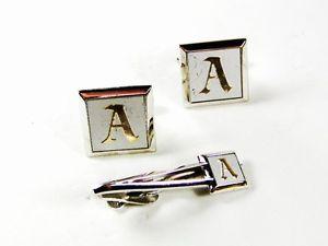 【送料無料】メンズアクセサリ― カフリンクスタイクラスプスワンクsilvertone white initial a cufflinks amp; tie clasp by swank 42616