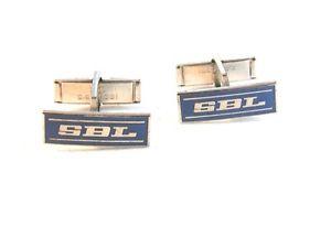 【送料無料】メンズアクセサリ― ビンテージシルバートーンカフリンクスvintage silver tone amp; blue sbl cufflinks