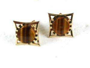 【送料無料】メンズアクセサリ― 19605シールド3116sgoldtoneカフスリンク1960s goldtone tiger eye cufflinks by an s within a 5 sided shield 3116
