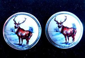 【送料無料】メンズアクセサリ― スターリングシルバーラウンドエナメルカフスボタンメンズsterling silver stag deer country animal round enamel cufflinks mens gift