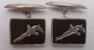 【送料無料】メンズアクセサリ― ビンテージインドネシア?シルバーオニキスケリスカフリンクスvintage indonesian silver amp; onyx keris cufflinks